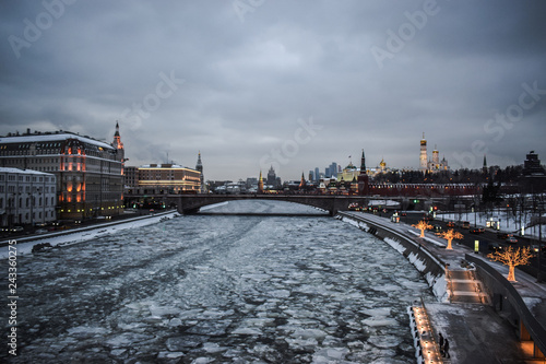 river in the city in winter