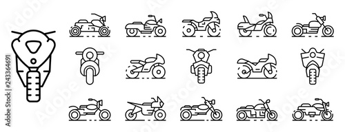 Motorbike icons set. Outline set of motorbike vector icons for web design isolated on white background