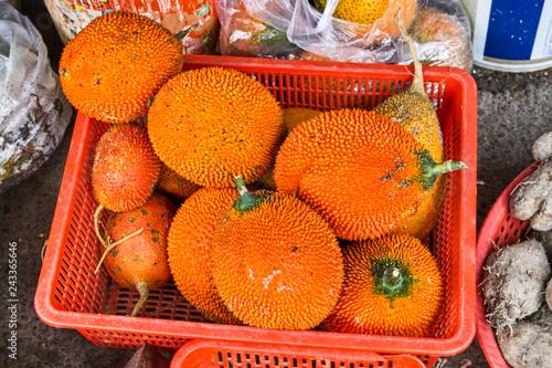 Leinwanddruck Bild Fresh Gac Fruits on the fruit market for sale