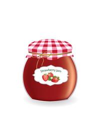 Strawberry jam jar. vector illustration © marijaobradovic