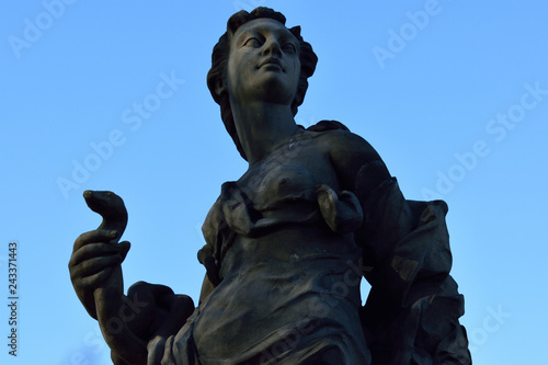 Statue on a blue background