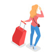 Female character in airport with a luggage - 243374062