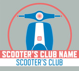 Blue and Living coral Scooter's Club logo