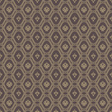 Seamless brown and golden pattern. Modern geometric ornament with royal lilies. Classic vintage background - 243375008