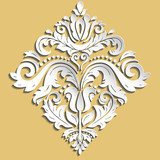 Oriental ornament. Vintage pattern with volume 3D elements, shadows and highlights. Classic traditional pattern - 243375297