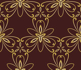 Floral golden ornament. Seamless abstract classic background with flowers. Pattern with repeating floral elements - 243375482