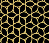 Seamless ornament. Modern black and golden background. Geometric modern pattern - 243376000