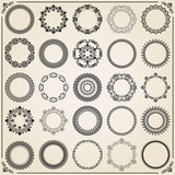 Vintage set of round elements. Different elements for decoration and design frames, cards, menus, backgrounds and monograms. Classic patterns. Set of vintage patterns - 243376253