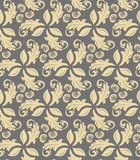 Floral ornament. Seamless abstract classic background with golden flowers. Pattern with repeating floral elements - 243376647