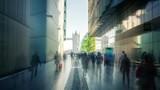 hyper lapse of modern buildings and Tower Bridge, London, UK - 243378089