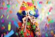 Leinwanddruck Bild - Frau zum Fasching mit Konfetti und Tröte
