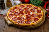 Pepperoni pizza on plate - 243379209