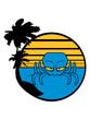urlaub insel ferien palmen sonne böser oktopus krake kopffüßer kalmar tentakel tintenfisch unterwasser monster comic cartoon clipart lustig design meer wasser tauchen fisch
