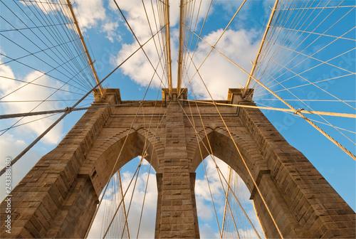 Foto Murales Brooklyn Bridge at sunset in New York City