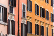 Quadro Buildings on street in Rome Italy