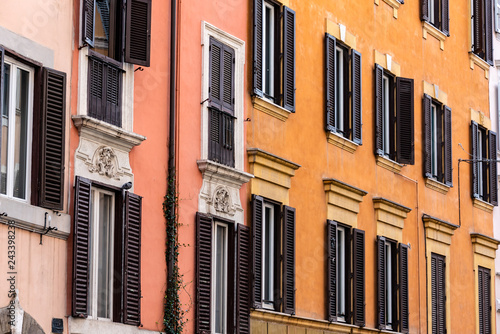 Buildings on street in Rome Italy