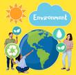Leinwandbild Motiv People and environmental conservation icon