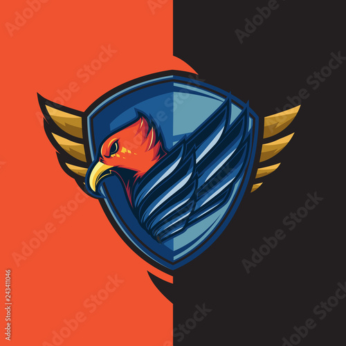 Esport gaming logo with the theme of blue-winged red eagle. With shield defense