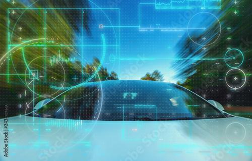 Fridge magnet Self-driving autonomous electric driverless car technology theme
