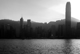Silhouette of Hong Kong Victoria Harbour. During sunset; Black & White Color - 243415693