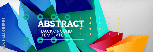 3d polygonal shape geometric background, triangular modern abstract composition - 243419494