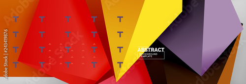 3d polygonal shape geometric background, triangular modern abstract composition - 243419876