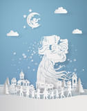 santa clause pour down snowflake on the village