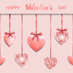 Happy Valentines Day Pink Greeting Square Card © kronalux