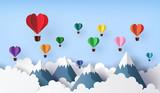 hot air balloon in a heart shape. - 243422830