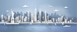 Manhattan,New York City panorama skyline with urban skyscrapers, Paper art 3d from digital craft style.