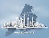 New York City panorama skyline with urban skyscrapers