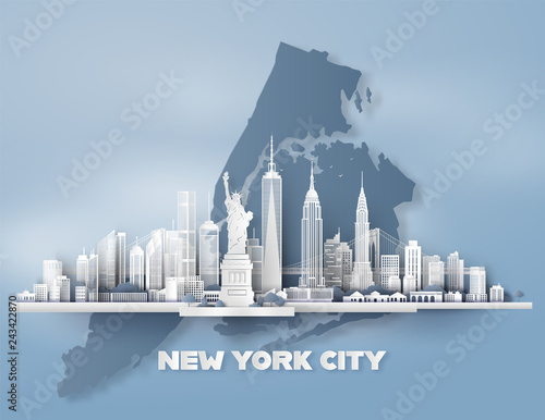 New York City panorama skyline with urban skyscrapers