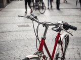Bicycle on street with People walking city Travel ecology lifestyle friendly city - 243425625