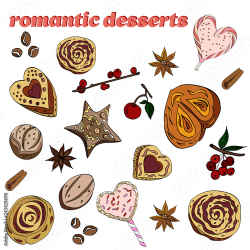 set of romantic desserts: cookies, buns, candies, flowers of star anise
