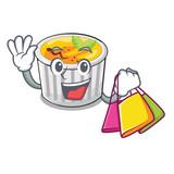 Shopping creme brule in white cartoon bowl - 243428833