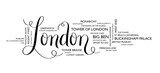 LONDON tag cloud of places to visit - 243430815