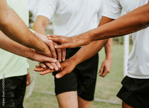 Leinwandbild Motiv Football players team spirit concept