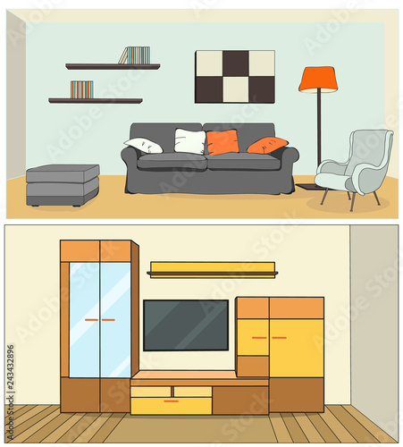 vector, living room with sofa, TV