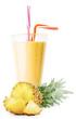 Leinwandbild Motiv A glass of pineapple smoothie or yogurt with sliced pineapple