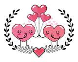 love heart couple cartoon - 243435490