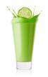 Splash from cucumber slices in green smoothie or yogurt