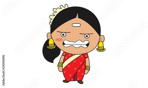 Vector cartoon illustration of south indian woman angry . Isolated on white background.