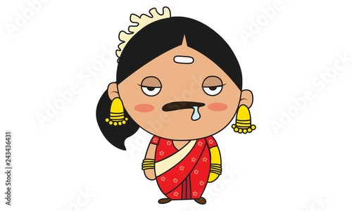 Vector cartoon illustration of south indian woman sick. Isolated on white background.