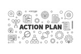 Action Plan vector horizontal illustration or banner in thin line style - 243438441
