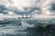 Quadro Ship in a stormy sea