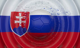 Slovakia, soccer ball on a wavy background, complementing the composition in the form of a flag, 3d illustration