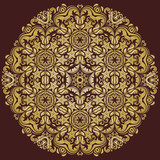 Oriental vector pattern with golden arabesques and floral elements. Traditional classic ornament. Vintage pattern with arabesques - 243446057