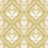 Classic seamless vector pattern. Damask orient ornament. Classic vintage background. Orient golden and white ornament for fabric, wallpaper and packaging - 243446243