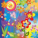 kolorowa kompozycja z różnymi kwiatami i wzorami - 243446621