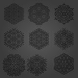 Set of vector black snowflakes. Fine winter ornaments. Snowflakes collection. Snowflakes for backgrounds and designs - 243447031